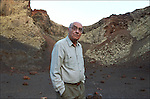 José Saramago in the crater of a vulcano in Lanzarote.