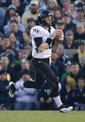 November 17, 2012:  Wake Forest quarterback Tanner Price (10) sets to throw the ball during NCAA Football game action between the Notre Dame Fighting Irish and the Wake Forest Demon Deacons at Notre Dame Stadium in South Bend, Indiana.  Notre Dame defeated Wake Forest 38-0.
