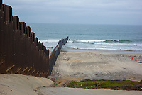 The wall separating Mexico from the US runs into the sea. Friendship Park, San Diego, California, September 2017.