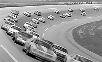 ARCA cars sweep through the banking at Alabama International Motor Speedway in Talladega, AL on May 1, 1983.  (Photo by Brian Cleary/www.bcpix.com)