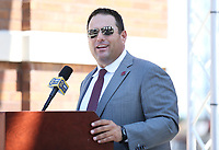 New Mississippi State Head Baseball Coach Chris Lemonis speaks during his introductory press conference Tuesday [June 26] at Dudy Noble Field. Lemonis comes to MSU from Indiana University, where he led the Hoosiers to three NCAA Regional appearances in four seasons. He has ties to the Bulldog family through his father, Thomas, a 1973 MSU electrical engineering graduate.<br />  (photo by Kelly Donoho / &copy; Mississippi State University Athletics)