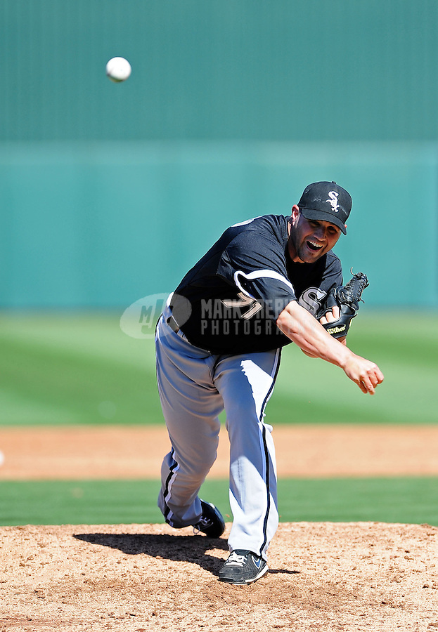 Mar. 6, 2012; Tempe, AZ, USA; Chicago White Sox pitcher Brian Omogrosso throws in the third inning against the Los Angeles Angels during a spring training game at Tempe Diablo Stadium.  Mandatory Credit: Mark J. Rebilas-
