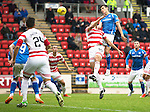 St Johnstone v Hamilton Accies...12.09.15  SPFL McDiarmid Park, Perth<br /> Graham Cummins gets above Lucas Tagliapietra<br /> Picture by Graeme Hart.<br /> Copyright Perthshire Picture Agency<br /> Tel: 01738 623350  Mobile: 07990 594431