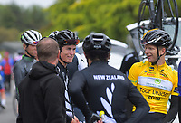 Campbell Stewart (New Zealand National Team) and Aaron Gate of New Zealand/Black Spoke Pro Cycling Academy after stage two of the NZ Cycle Classic UCI Oceania Tour (Gladstone circuit) in Wairarapa, New Zealand on Thursday, 16 January 2020. Photo: Dave Lintott / lintottphoto.co.nz