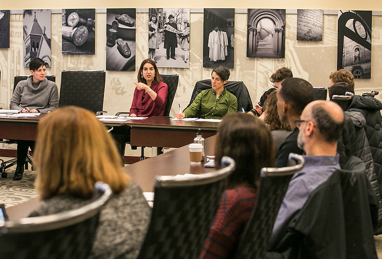 Marla Morgen, center, leads the members of the Sexual Violence Prevention and Response Working Group as they gather Friday, Jan. 15, 2016, for their first meeting of the new year. (DePaul University/Jamie Moncrief)