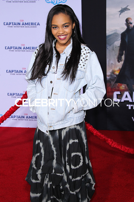 "HOLLYWOOD, LOS ANGELES, CA, USA - MARCH 13: China Anne McClain at the World Premiere Of Marvel's ""Captain America: The Winter Soldier"" held at the El Capitan Theatre on March 13, 2014 in Hollywood, Los Angeles, California, United States. (Photo by Xavier Collin/Celebrity Monitor)"