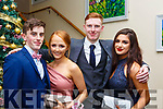Joe O'Connor (Blennerville), Leona O'Shea (Tralee), Adam Boyle (Blennerville) and Seniz Kuccuk (Tralee) attending the Mercy Mounthawk debs in the Ballyroe Heights Hotel on Thursday night last.