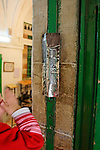 Judea, Hebron Mountain. A Mezuzah at the Cave of Machpelah in Hebron