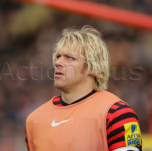 03.03.2013 London, England.  Mouritz Botha warms up during the Aviva Premiership game between Saracens and London Welsh from Allianz Park.