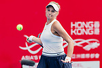 Dayana Yastremska of Ukraine competes against Kristina Kucova of Slovakia during the singles quarter final match at the WTA Prudential Hong Kong Tennis Open 2018 at the Victoria Park Tennis Stadium on 12 October 2018 in Hong Kong, Hong Kong.