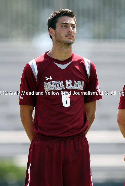 02 September 2012: Santa Clara's Max Ornstil. The North Carolina State University Wolfpack defeated the Santa Clara University Broncos 2-1 at Koskinen Stadium in Durham, North Carolina in a 2012 NCAA Division I Men's Soccer game.