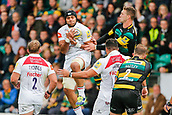 9th September 2017, Franklins Gardens, Northampton, England; Aviva Premiership Rugby, Northampton Saints versus Leicester Tigers; Sione Kalamafoni of Leicester Tigers collects a high ball under pressure from George North of Northampton Saints