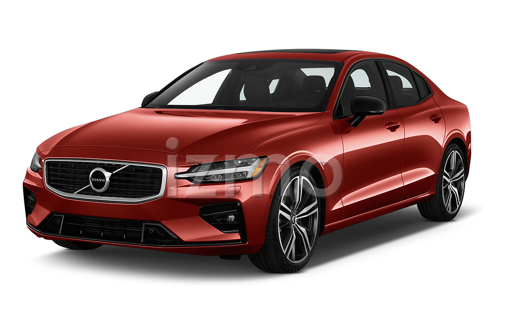 2019 Volvo S60 R-Design 4 Door Sedan angular front stock photos of front three quarter view