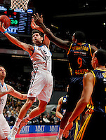 Real Madrid's Rudy Fernandez  and Alba Berlin's Deon Thompson during Euroleague 2012/2013 match.February 22,2013. (ALTERPHOTOS/Javier Lopez) /NortePhoto
