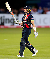 Sam Billings frustration after being bowled during the T20 Quarter-Final game between Kent Spitfires and Lancashire Lightning at the St Lawrence ground, Canterbury, on Aug 23, 2018.