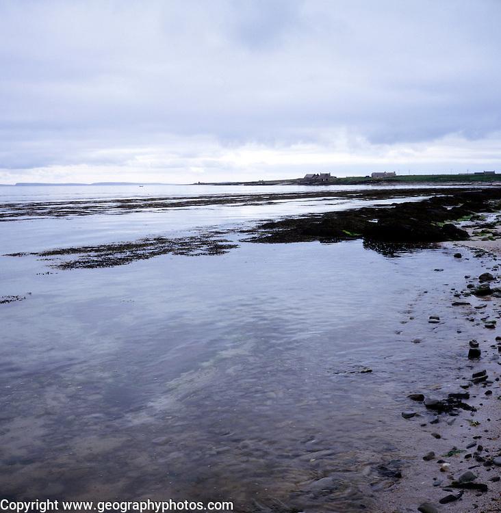 Seascape with grey clouds, Westness coast, Papa Westray, Orkney Islands, Scotland