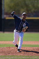 San Diego Padres relief pitcher Luis Patino (84) delivers a pitch to the plate during an Extended Spring Training game against the Colorado Rockies at Peoria Sports Complex on March 30, 2018 in Peoria, Arizona. (Zachary Lucy/Four Seam Images)