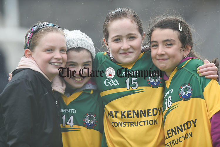 Killimer players Faye Collins, Amy Griffin, Maria Kelly and Veronica O Sullivan during the U-12 football finals in Cusack park. Photograph by John Kelly.