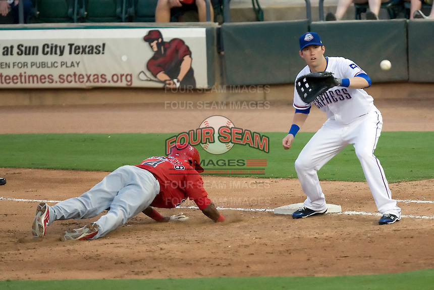 Round Rock Express first baseman Chad Tracy #28 at first during a game against the Memphis Redbirds at the Dell Diamond on July 7, 2011in Round Rock, Texas.  Round Rock defeated Memphis 6-4.  (Andrew Woolley / Four Seam Images)