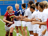 Florida International University Golden Panthers against Stetson at Miami, Florida on Sunday, September 23, 2007.  The Golden Panthers won, 2-1...FIU senior goal keeper Madeline Gannon (Fort Myers, Fla.) (1) rallies her teammates prior to the start of the game.