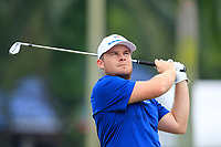 Tyrrell Hatton (Europe) on the 2nd tee during the Singles Matches of the Eurasia Cup at Glenmarie Golf and Country Club on the Sunday 14th January 2018.<br /> Picture:  Thos Caffrey / www.golffile.ie