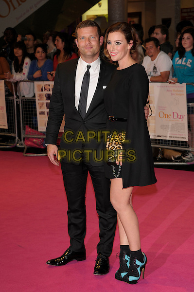 "Dermot O'Leary & Dee Koppang.""One Day"" UK premiere, Vue Westfield cinema, Westfield Shopping Centre, London, England..August 23rd, 2011.full length dress couple black white suit tie shirt.CAP/PL.©Phil Loftus/Capital Pictures."