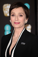 Kristin Scott Thomas arriving for the BAFTA Film Awards 2018 at the Royal Albert Hall, London, UK. <br /> 18 February  2018<br /> Picture: Steve Vas/Featureflash/SilverHub 0208 004 5359 sales@silverhubmedia.com