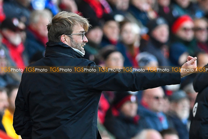 Liverpool Manager Jurgen Klopp gives instructions from the sideline during AFC Bournemouth vs Liverpool, Premier League Football at the Vitality Stadium on 4th December 2016