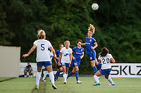 Seattle, Washington - Saturday, July 2nd, 2016: Seattle Reign FC midfielder Beverly Yanez (17) goes up for a header during a regular season National Women's Soccer League (NWSL) match between the Seattle Reign FC and the Boston Breakers at Memorial Stadium. Seattle won 2-0.