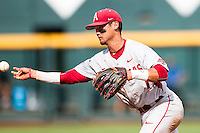 Arkansas Razorbacks second baseman Rick Nomura (1) makes a throw to first base during the NCAA College baseball World Series against the Miami Hurricanes on June 15, 2015 at TD Ameritrade Park in Omaha, Nebraska. Miami beat Arkansas 4-3. (Andrew Woolley/Four Seam Images)