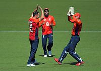 England's Lewis Gregory celebrates dismissing Colin de Grandhomme. Twenty20 International cricket match between NZ Black Caps and England at Westpac Stadium in Wellington, New Zealand on Sunday, 3 November 2019. Photo: Dave Lintott / lintottphoto.co.nz