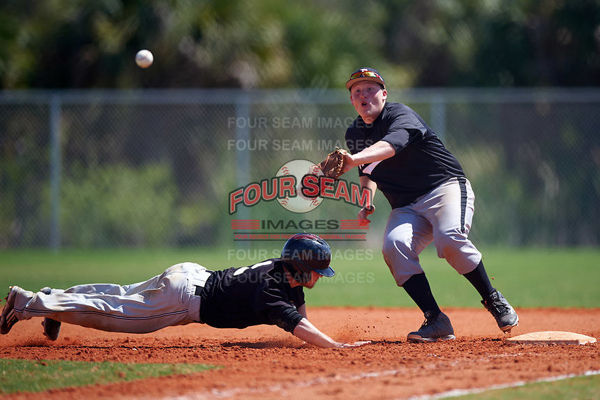 Edgewood Eagles Nick Lehner (36) waits for a throw as Nate Frederick (9) dives back into first base during the second game of a doubleheader against the Plymouth State Panthers on April 17, 2016 at Lee County Player Development Complex in Fort Myers, Florida.  Plymouth State defeated Edgewood 16-3.  (Mike Janes/Four Seam Images)