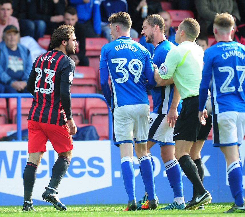 Tempers flare between Blackburn Rovers' Bradley Dack and Rochdale's Steven Davies<br /> <br /> Photographer Kevin Barnes/CameraSport<br /> <br /> The EFL Sky Bet League One - Rochdale v Blackburn Rovers - Saturday 9th September 2017 - Spotland Stadium - Rochdale<br /> <br /> World Copyright &copy; 2017 CameraSport. All rights reserved. 43 Linden Ave. Countesthorpe. Leicester. England. LE8 5PG - Tel: +44 (0) 116 277 4147 - admin@camerasport.com - www.camerasport.com