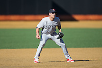 Richmond Spiders third baseman Michael Morman (8) on defense against the Wake Forest Demon Deacons at David F. Couch Ballpark on March 6, 2016 in Winston-Salem, North Carolina.  The Demon Deacons defeated the Spiders 17-4.  (Brian Westerholt/Four Seam Images)