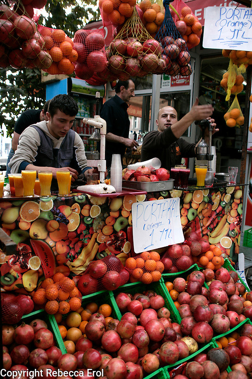 Freshly squeezed orange and pomegranate juice, Istanbul, Turkey