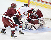 Marissa Gedman (Harvard - 16), Katie MacSorley (NU - 3), Laura Bellamy (Harvard - 1) - The Harvard University Crimson defeated the Northeastern University Huskies 4-3 (SO) in the opening round of the Beanpot on Tuesday, February 8, 2011, at Conte Forum in Chestnut Hill, Massachusetts.