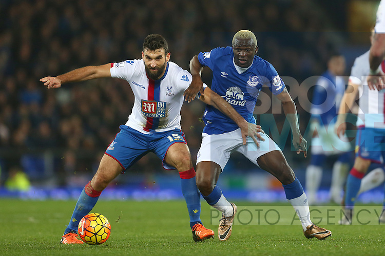 Mile Jedinak of Crystal Palace battles Arouna Kone of Everton - Everton vs Crystal Palace - Barclays Premier League - Goodison Park - Liverpool - 07/12/2015 Pic Philip Oldham/SportImage