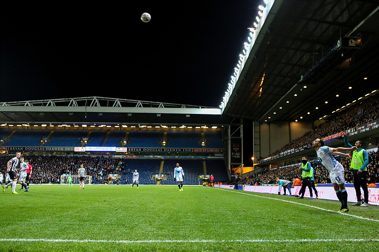 Blackburn Rovers' Elliott Bennett takes a throw in<br /> <br /> Photographer Alex Dodd/CameraSport<br /> <br /> Emirates FA Cup Third Round Replay - Blackburn Rovers v Newcastle United - Tuesday 15th January 2019 - Ewood Park - Blackburn<br />  <br /> World Copyright &copy; 2019 CameraSport. All rights reserved. 43 Linden Ave. Countesthorpe. Leicester. England. LE8 5PG - Tel: +44 (0) 116 277 4147 - admin@camerasport.com - www.camerasport.com