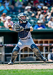 23 June 2019: Trenton Thunder catcher Ryan Lidge in action against the New Hampshire Fisher Cats at Northeast Delta Dental Stadium in Manchester, NH. The Thunder defeated the Fisher Cats 5-2 in Eastern League play. Mandatory Credit: Ed Wolfstein Photo *** RAW (NEF) Image File Available ***