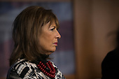 United States Representative Jackie Speier (Democrat of California) looks on as US House Minority Leader Nancy Pelosi (Democrat of California) speaks with reporters during a press conference held by US House Democrats at the United States Capitol on the first morning of a government shutdown as congress looks to end the political deadlock and fund the government on January 20th, 2018 in Washington, D.C. <br /> Credit: Alex Edelman / CNP