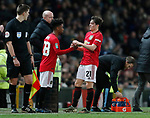 Angel Gomes of Manchester United replaces Daniel James of Manchester United during the Carabao Cup match at Old Trafford, Manchester. Picture date: 7th January 2020. Picture credit should read: Darren Staples/Sportimage