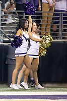 SEATTLE, WA - SEPTEMBER 16:  Washington cheerleader Karli Berger entertained fans during the football game between the Washington Huskies and the Fresno State Bulldogs on September 16, 2017 at Husky Stadium in Seattle, WA. Washington won 63-7 over Montana.