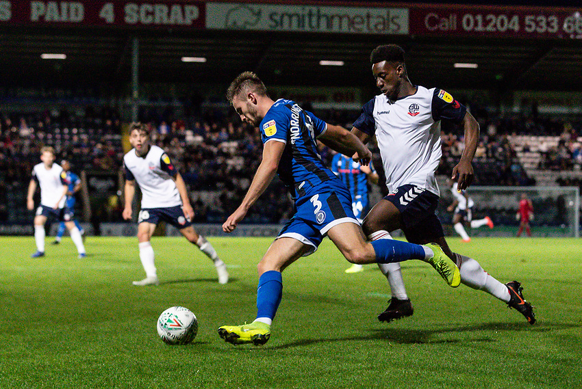 Bolton Wanderers' De'Marlio Brown-Sterling (right) chasing down Rochdale's Rhys Norrington-Davies <br /> <br /> Photographer Andrew Kearns/CameraSport<br /> <br /> The Carabao Cup First Round - Rochdale v Bolton Wanderers - Tuesday 13th August 2019 - Spotland Stadium - Rochdale<br />  <br /> World Copyright © 2019 CameraSport. All rights reserved. 43 Linden Ave. Countesthorpe. Leicester. England. LE8 5PG - Tel: +44 (0) 116 277 4147 - admin@camerasport.com - www.camerasport.com