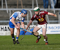 2nd February 2020; TEG Cusack Park, Mullingar, Westmeath, Ireland; Allianz Division 1 Hurling, Westmeath versus Waterford; Patrick Curran (Waterford) and Brendan Doyle (Westmeath) challenge for the ball