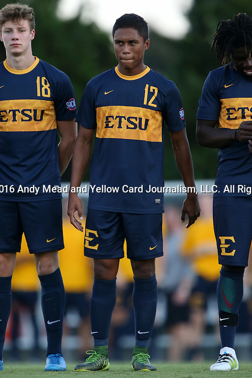13 September 2016: ETSU's Warren Austin. The University of North Carolina Tar Heels hosted the East Tennessee State University Buccaneers at Fetzer Field in Chapel Hill, North Carolina in a 2016 NCAA Division I Men's Soccer match. ETSU won the game 1-0 in sudden death overtime.