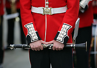Pictured: A clarinet held by a Welsh Guard as he parades through Castle Square in Swansea.  Friday 15 September 2017<br />Re: Soldiers from the Welsh Guards have exercised their freedom to march through the streets of Swansea in Wales, UK.<br />The Welsh warriors paraded with bayonets-fixed from the city centre to the Brangwyn Hall, where the Lord Mayor of Swansea took a salute.