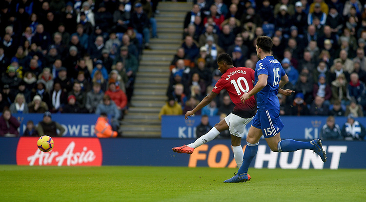 Manchester United's Marcus Rashford scores his side's first goal  <br /> <br /> Photographer Hannah Fountain/CameraSport<br /> <br /> The Premier League - Leicester City v Manchester United - Sunday 3rd February 2019 - King Power Stadium - Leicester<br /> <br /> World Copyright © 2019 CameraSport. All rights reserved. 43 Linden Ave. Countesthorpe. Leicester. England. LE8 5PG - Tel: +44 (0) 116 277 4147 - admin@camerasport.com - www.camerasport.com