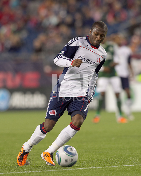 New England Revolution forward Sainey Nyassi (17). In a Major League Soccer (MLS) match, the New England Revolution tied the Portland Timbers, 1-1, at Gillette Stadium on April 2, 2011.