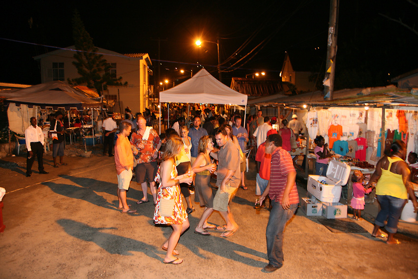 Friday night fish fry at the fishing village of Anse La Raye, St. Lucia. Dancing in the street.