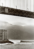 USA, California, San Francisco, scenic view of the Golden Gate Bridge and Fort Point (B&W)